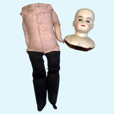Antique German Wax Over Doll Head Stamped Cloth Body Parts Project Doll