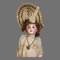 Antique German Bisque Doll Original Clothes Straw Bonnet TLC