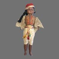 All Original Antique Brown Black Bisque Man Doll Elaborate Costume