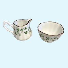 Irish Porcelain Miniature Doll Size Pitcher Wash Basin Shamrocks Clover
