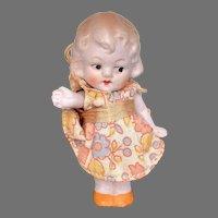 "Darling 2.5"" German All Bisque Googly Eye Antique Miniature Dollhouse Doll Original Clothes"