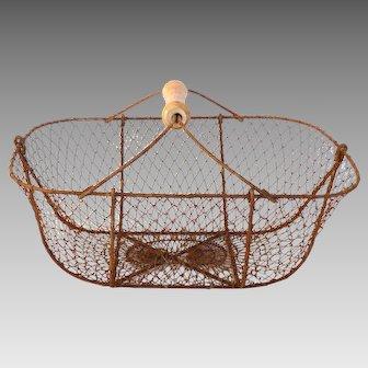 Wire Oyster Basket from France - Wire Harvest Basket - Garden Basket