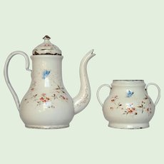 REDUCED ! French Enamel Coffee Pot & Sugar Bowl SET - Butterfly and Floral Decors