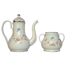 French Enamel Coffee Pot & Sugar Bowl - Butterfly and Floral Decors!