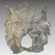 ANTIQUE French ZINC Lion Head Fountain Figural