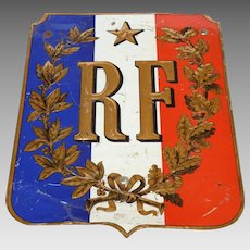 RARE French Flag Holder Made of Tin - Very Well Preserved