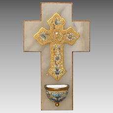 Antique Brass Mounted French Cross and Benitier in Cloisonne Enamel - Champleye / Champlevé Cross and Holy Water Stoup