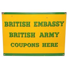 English Military Enamel Plaque - British Embassy Metal Sign - Ration Coupons
