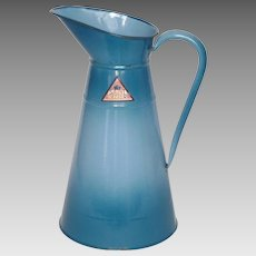 Extra tall French Enameled Pitcher with Manufacturer's Sticker - Graniteware Body Pitcher