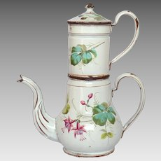 1800s Floral Enamelware Drip Coffee Biggin from France - Antique Graniteware