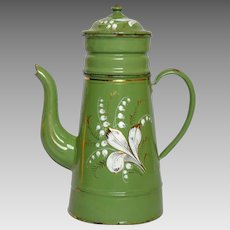 Green Enameled French Drip Coffee Pot Biggin - Handpainted Floral Decor