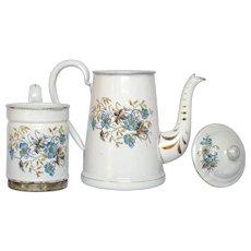 Near-Mint French Floral Enamelware Drip-Coffee Pot Biggin
