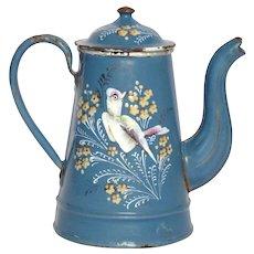 Hand-Painted BIRD & Flowers Enamel Coffee Pot - Graniteware Floral Enameled Coffeepot - French Enamelware