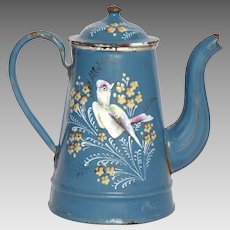 Hand-Painted BIRD & Flowers Enamel Coffee Pot - Graniteware Floral Enameled Coffeepot - French Enamelware