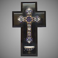 Antique French Champleye / Champlevé - Enamel Cross and Holy Water Stoup on Black Onyx