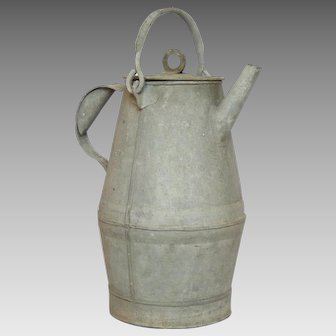 Unusually Shaped French Zinc Pail - Metal Bucket - Milk Can from France