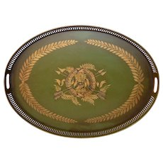 Large French Toleware Tray - Napoleonic Themed Wreath - Ribbon - Swag / Tole Ware Platter