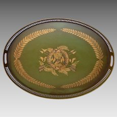 Large French Toleware Tray - Napoleonic Themed Wreath - Ribbon - Swag