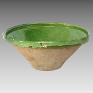 Earthenware Clay French Mixing Bowl - Jatte - Tian -Green Glaze
