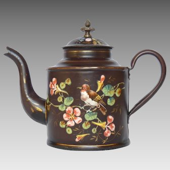BIRD & Floral 1800's EXCEPTIONAL  French Graniteware Enamel Coffee Pot - RARE Color