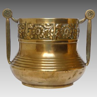 Pressed Brass Sunflower Motif Flower Pot- French Jardiniere - Cache Pot - Planter