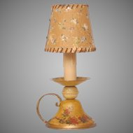 Antique Toleware Lamp From France - Tin Light with Floral Pained Base - French Toleware Lamp
