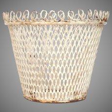 Antique Painted Wire Ware Garden Pot / Basket - Wire Work Planter - Wire Mesh Cache Pot