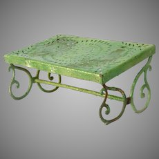 Early 1900s Wrought Iron Garden Stool - Metal Foot Rest From France - Painted Apple Green
