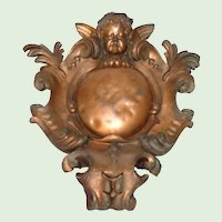 Architectural Copper Medallion Ornament from France - 19th Century
