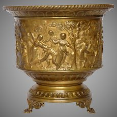 Brass Repousse Jardiniere / Flower Pot / Planter / Pressed Brass Cache Pot from France
