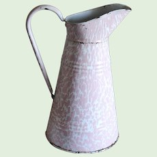 PINK & White Swirl Enamel XL Pitcher - Graniteware Body Pitcher