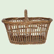 Fantastic Vintage French Woven Reed Basket