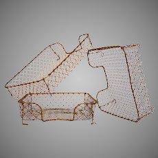 Vintage Wire Desktop Paper Trays  - Metal Bin Tray Baskets - Wire Filing Trays from France