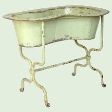 Antique French Zinc and Cast Iron Bidet - Planter - Baby Bath