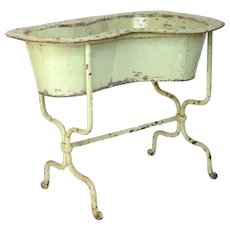 Antique French Zinc and Cast Iron Bidet - Planter - Baby Bath