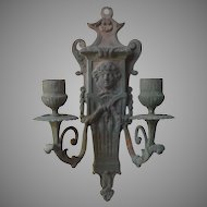 Bronze Figural Candle Sconce from France - French Metal Wall-hanging Candle Holder