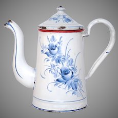 Blue and White Hand-Painted Floral French Enamel Graniteware Coffee Pot