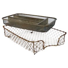 Pair of Vintage Wire Organizing Trays - Wire / Metal Paper Bin - Office Organizer / Desk Accessories