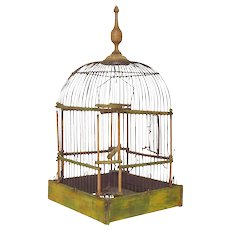 Early Vintage French Wooden Bird Cage / Wire Birdcage