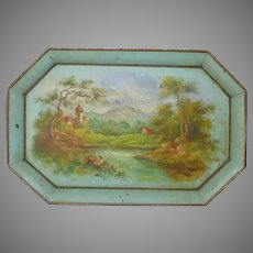 Vintage French Toleware Tray - Hand Painted Tole Ware Platter
