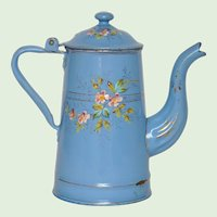 Hand Painted Floral French Enamel Graniteware Coffee Pot - Enamelware Coffeepot from France