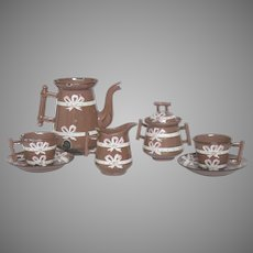 Child Enamelware Coffee Set - Toy Graniteware Coffee Pot - Cups - Set