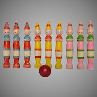 Fun Set of French Skittles - Wooden Bowling Pins - Clown Quilles