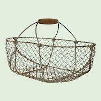 Vintage Wire French Harvest Basket / Garden Basket / Trug