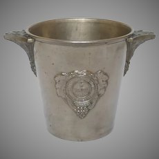 Art Deco Silver Plated Metal French Heidsieck Champagne Bucket - Monopole Ice Pail - Wine Cooler
