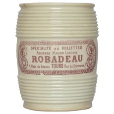 Early French Rillettes Crock - Stoneware Jar - Transfer Ceramic Meat Spread Crock