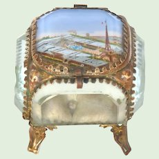 Antique French Jewelry -Memento Box / Eglomise Souvenir Casket -Eiffel Tower - Paris Universal Expo