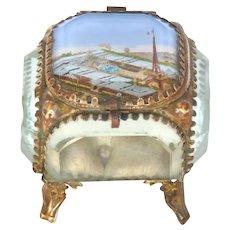 Antique French Jewelry -Memento Box / Eglomise Souvenir Casket -Eiffel Tower - Paris Universal Expo