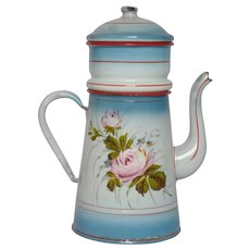Hand Painted Floral French Enamelware Filter Graniteware Coffee Pot
