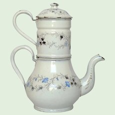 Antique French Enamel Drip Coffee Pot Biggin - Floral Graniteware Coffeepot